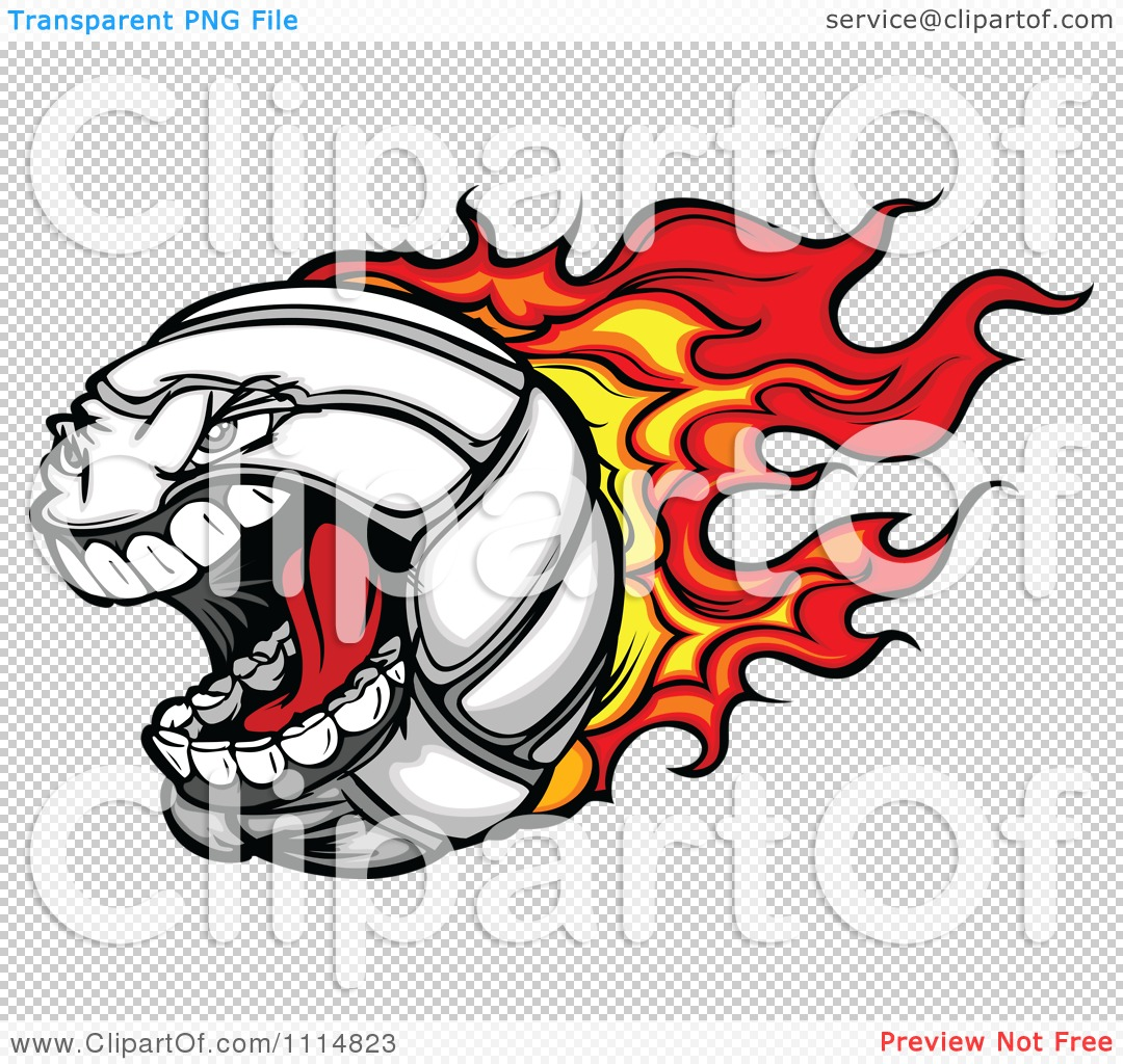 1080x1024 Clipart Aggressive Screaming Flaming Volleyball