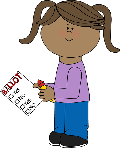 406x500 Girl With Voting Ballot Clip Art