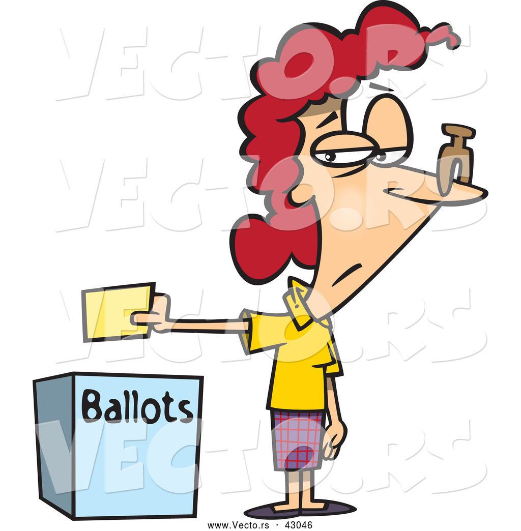 1024x1044 Vector Of A Unhappy Cartoon Female Voter Dropping Off Her Ballot