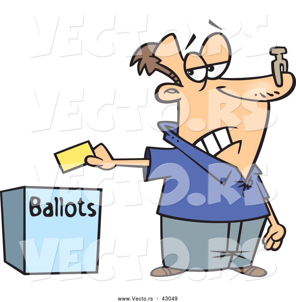 1024x1044 Vector Of A Unhappy Cartoon Voter Putting His Ballot In A Box