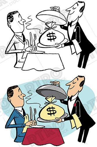 334x504 Man Being Served Money On A Silver Platter Vintage Retro Clip Art