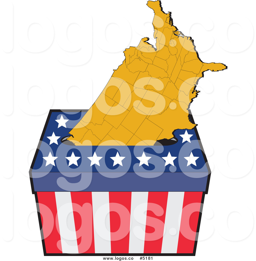 1024x1044 Royalty Free Vector Of An American Map In A Ballot Box Logo By