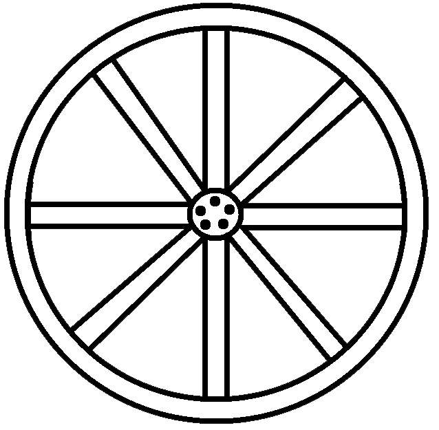 638x625 Black And White Wagon Wheel Clipart