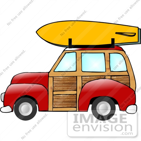 450x450 Woody Station Wagon Car With A Yellow Surfboard Clipart