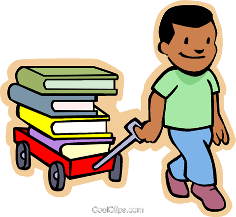 480x442 Little Boy Pulling A Wagon Load Of Books Royalty Free Vector Clip