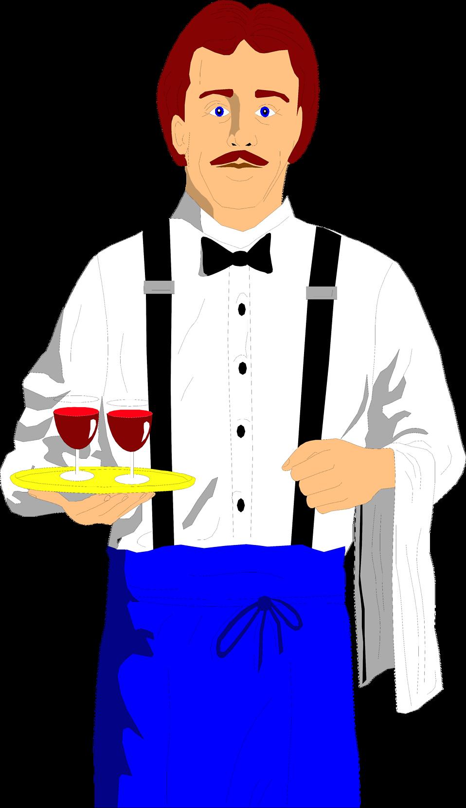 958x1659 Waiter Free Stock Photo Illustration Of A Waiter With Wine