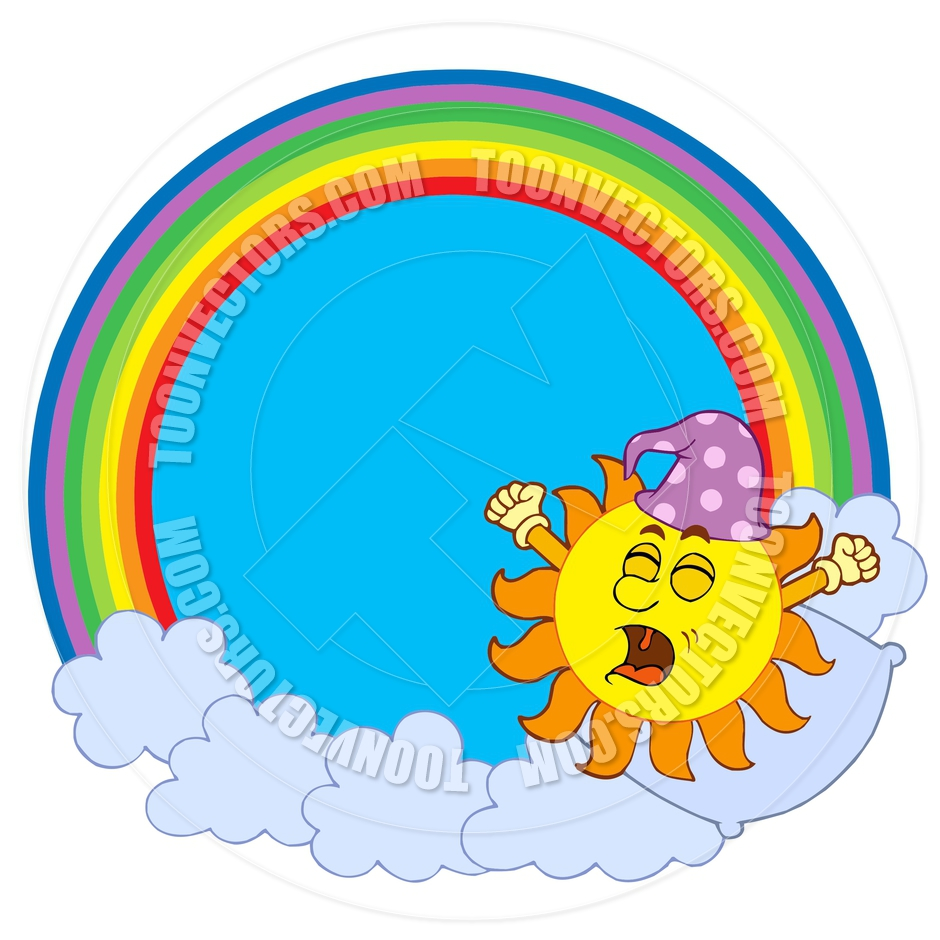 940x940 Cartoon Waking Up Sun In Rainbow Circle By Clairev Toon Vectors