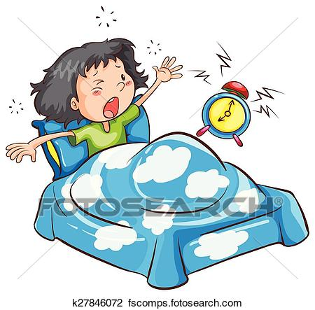 450x443 Clip Art Of A Young Girl Waking Up K23779148