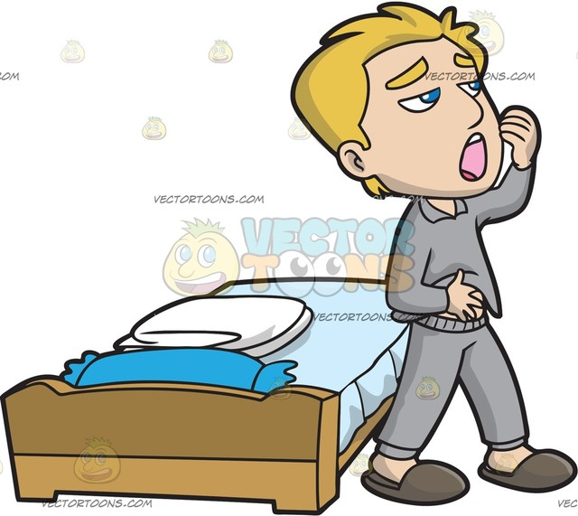 640x571 A Man Going To The Bathroom After Waking Up Cartoon Clipart