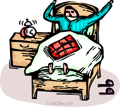 480x427 Man Waking Up In Bed With An Alarm Clock Royalty Free Vector Clip