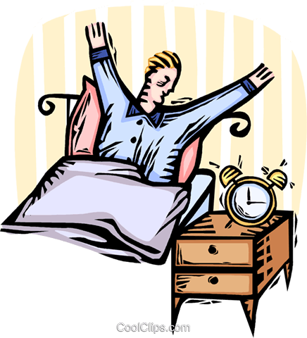 436x480 Man Waking Up In The Morning Royalty Free Vector Clip Art
