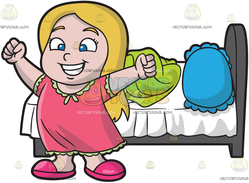 1024x753 A Young And Happy Girl Waking Up In The Morning Cartoon Clipart