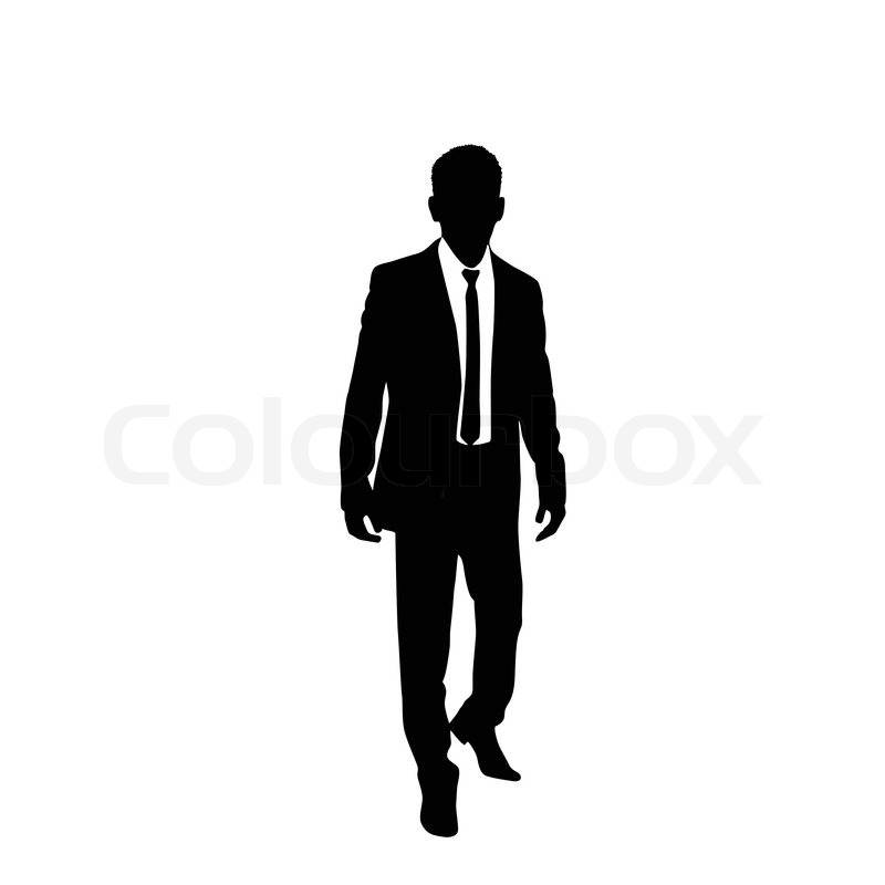 800x800 Vector Business Man Black Silhouette Walk Step Forward Full Length