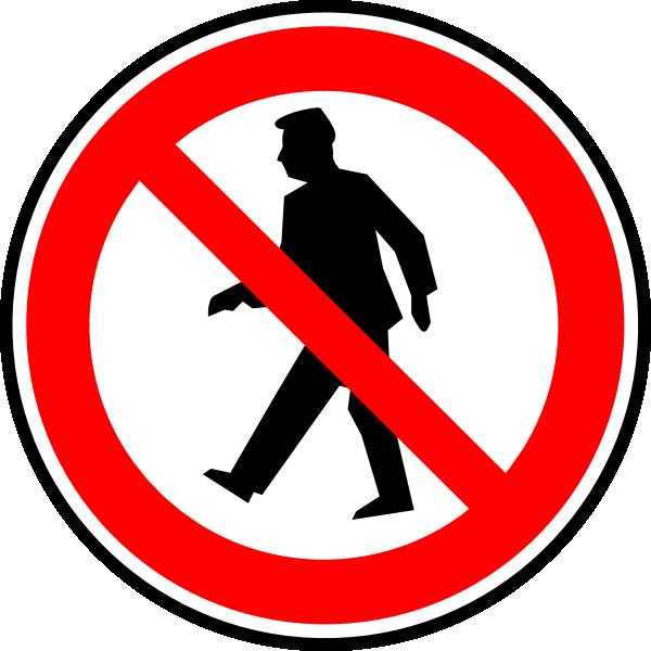 600x600 No Walking Pedestrians Clip Art