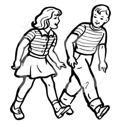 400x420 Walking Kids Clipart