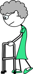 135x300 Old Lady With Walker Clipart