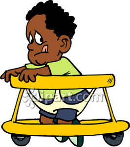 266x300 American Toddler In Walker Royalty Free Clipart Picture