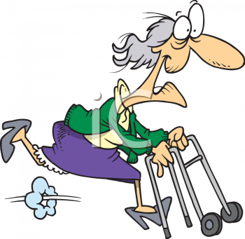 350x341 Woman With Walker Clipart