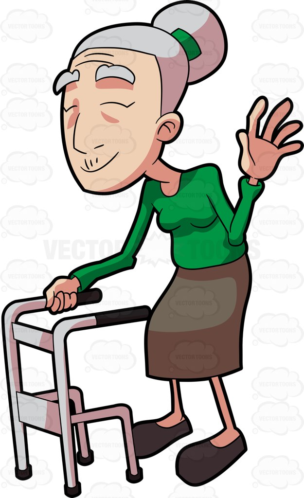 625x1024 Clipart Old Woman With Walker