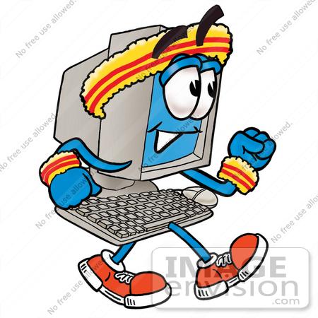 450x450 Clip Art Graphic Of A Desktop Computer Cartoon Character Speed