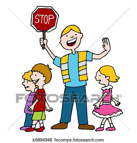 450x470 Clip Art Of Crossing Guard And Children Walking K5894948