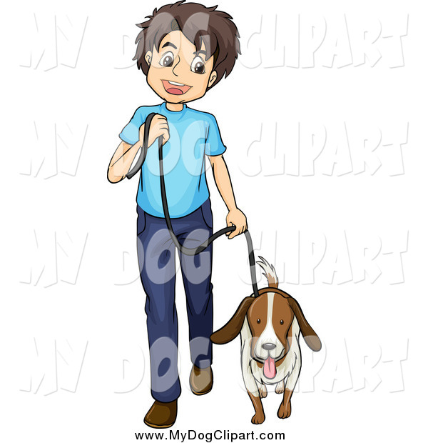 600x620 Clip Art Of A Happy White Boy Walking A Dog By Graphics Rf