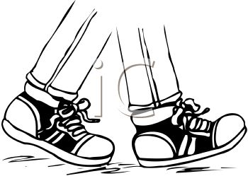 350x249 Picture Of A Partial Pair Of Legs Walking With Tennis Shoes On