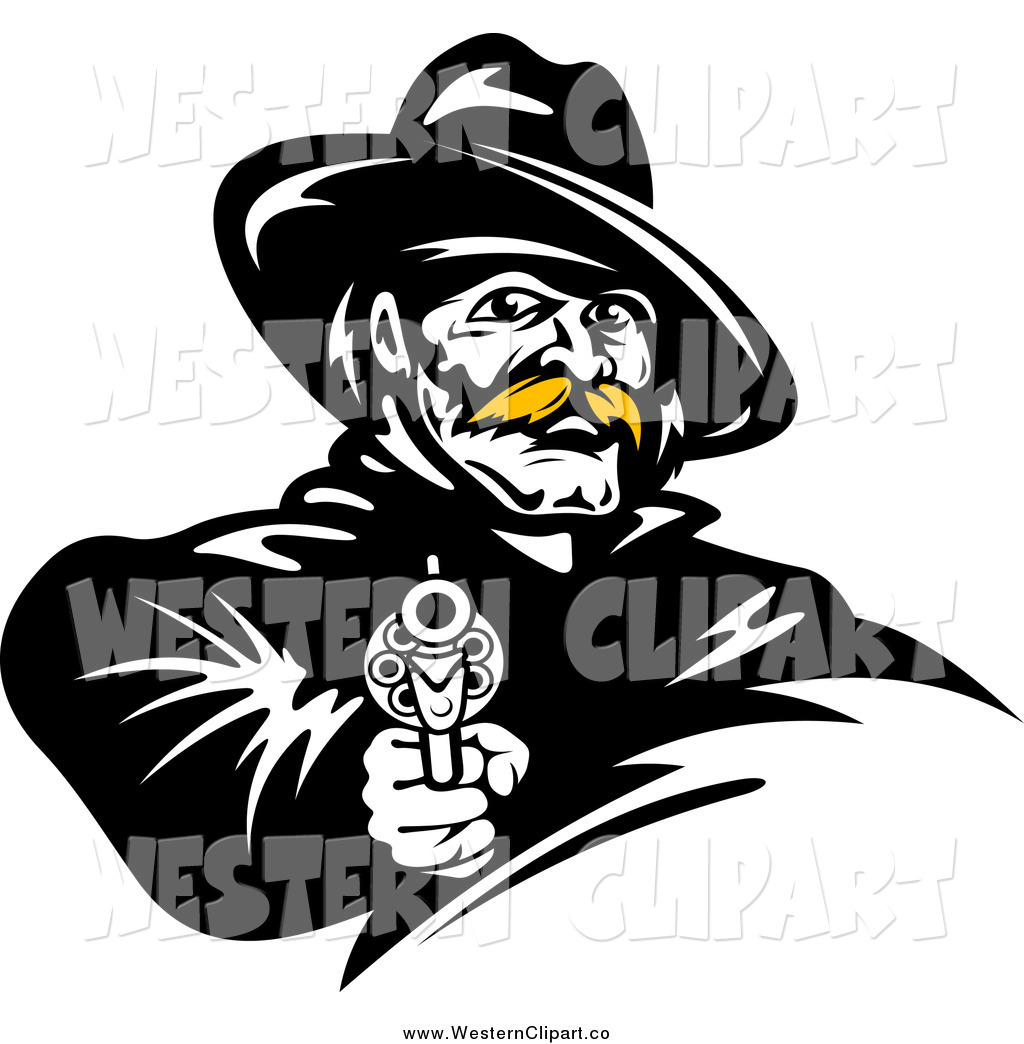 1024x1044 Vector Clip Art Of A Black And White Cowboy With A Blond Mustache