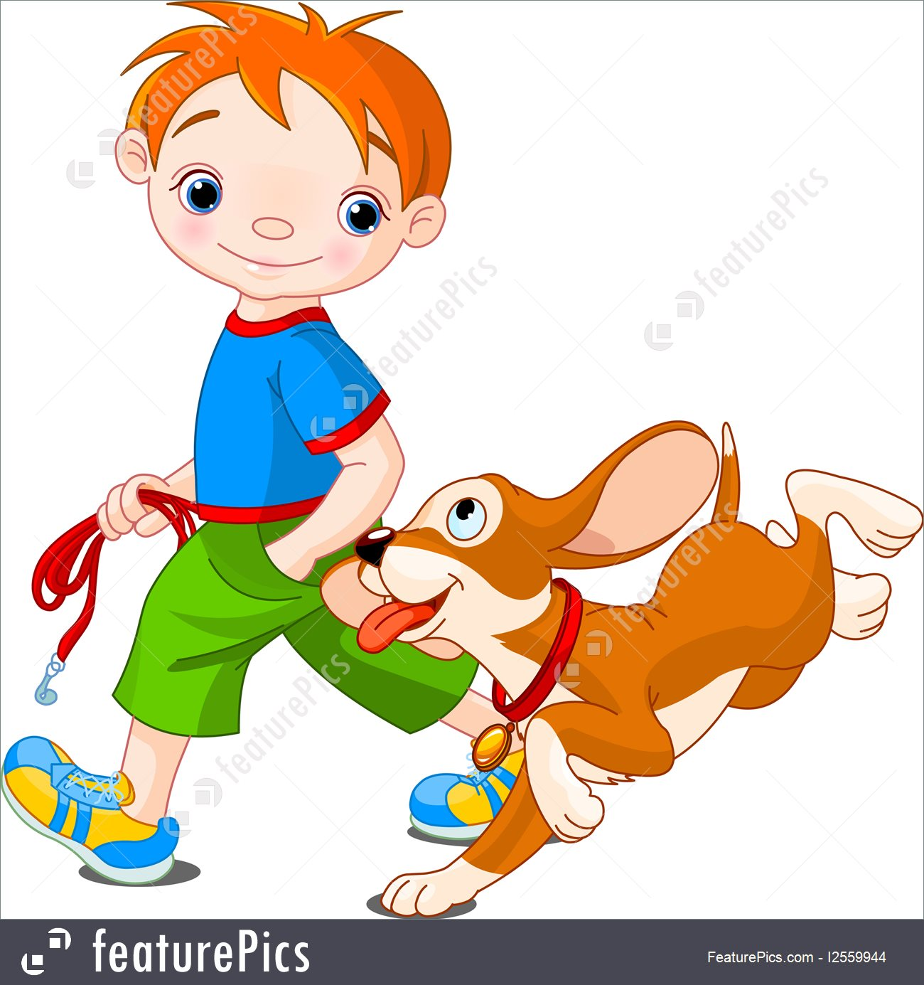 1300x1385 Children Boy Walking A Dog