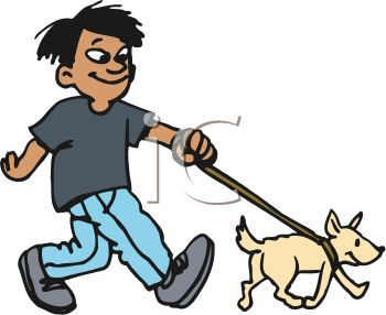 350x286 Clip Art Illustration Of A Young Boy Walking His Dog