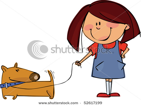 450x340 Clipart Picture Of A Little Girl Walking Her Dog As He Wags His