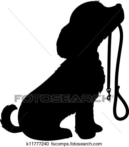 413x470 Clipart Of Dog And Leash K11777240