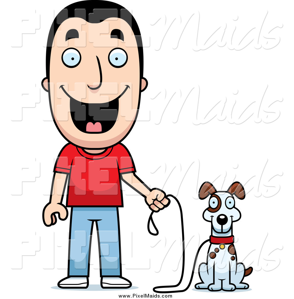 1024x1044 Clipart Of A Happy Caucasian Man Ready To Walk His Dog By Cory