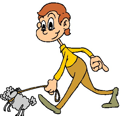 399x384 Clipart Walking The Dog