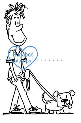 286x432 Guy Walking Dog Digi Stamp Bugaboo Stamps