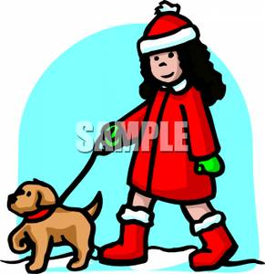 291x300 Art Image A Girl In Winter Clothing Walking Her Dog