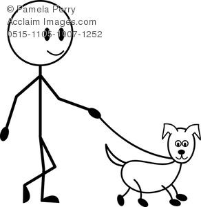292x300 Art Image Of A Stick Figure Boy Walking His Dog