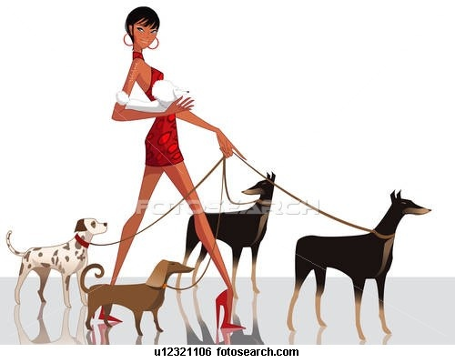 Walking Dogs Clipart