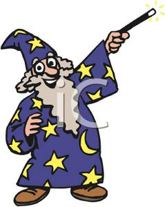 239x300 Smiling Wizard Pointing His Wand Clip Art Image