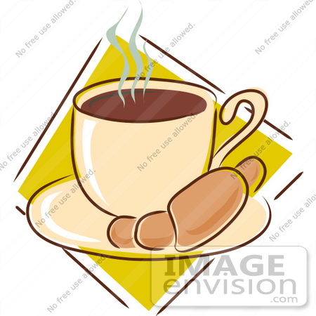 450x450 Clipart Of A Warm Croissant On A Saucer With A Steamy Cup Of Hot