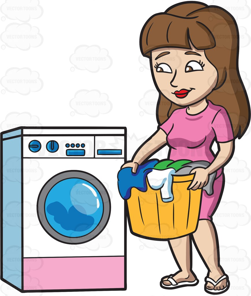 869x1024 A Woman Waiting For Her Load Of Laundry To Finish Cartoon Clipart