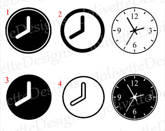 340x270 Clock Clip Art Etsy