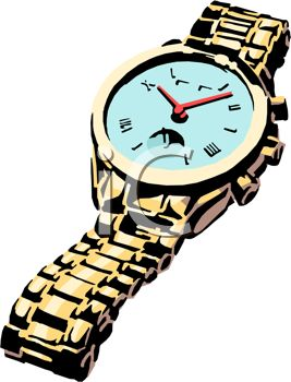 267x350 Picture Of A Wrist Watch With A Silver Band In A Vector Clip Art