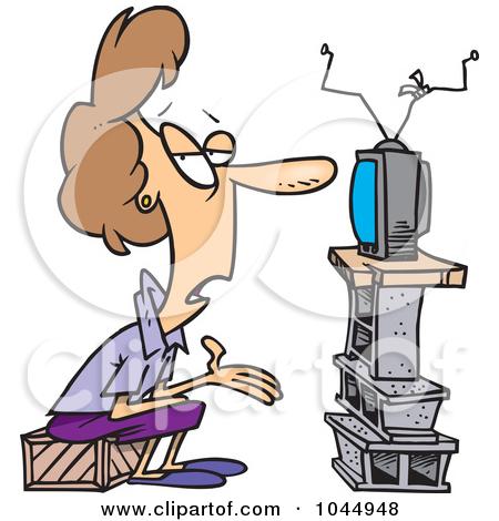 450x470 Cartoon Watching Tv Clipart