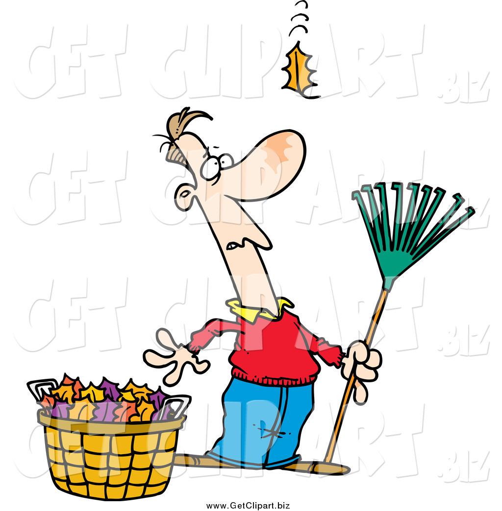 1024x1044 Clip Art Of A Cartoon White Man Raking Leaves, Watching Yet