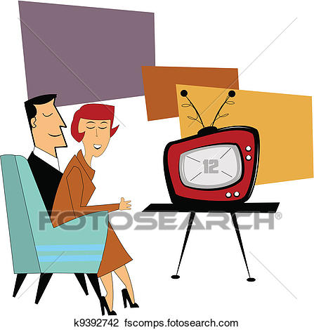 447x470 Clipart Of Coupe Watching Tv K9392742