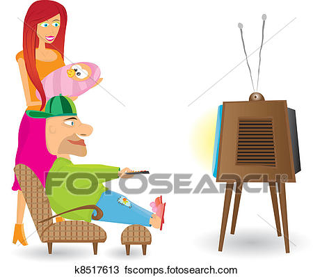 450x398 Clipart Of Family Watching Tv. K8517613