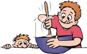 300x186 Art Image A Boy Watching His Father Stirring A Bowl Of Food
