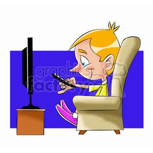 300x300 Royalty Free Small Boy Binge Watching Tv Cartoon 397685 Vector