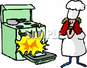 300x237 Art Image A Surprised Chef Watching A Fire In The Oven